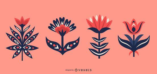 Conjunto de flores escandinavas de arte folclórica