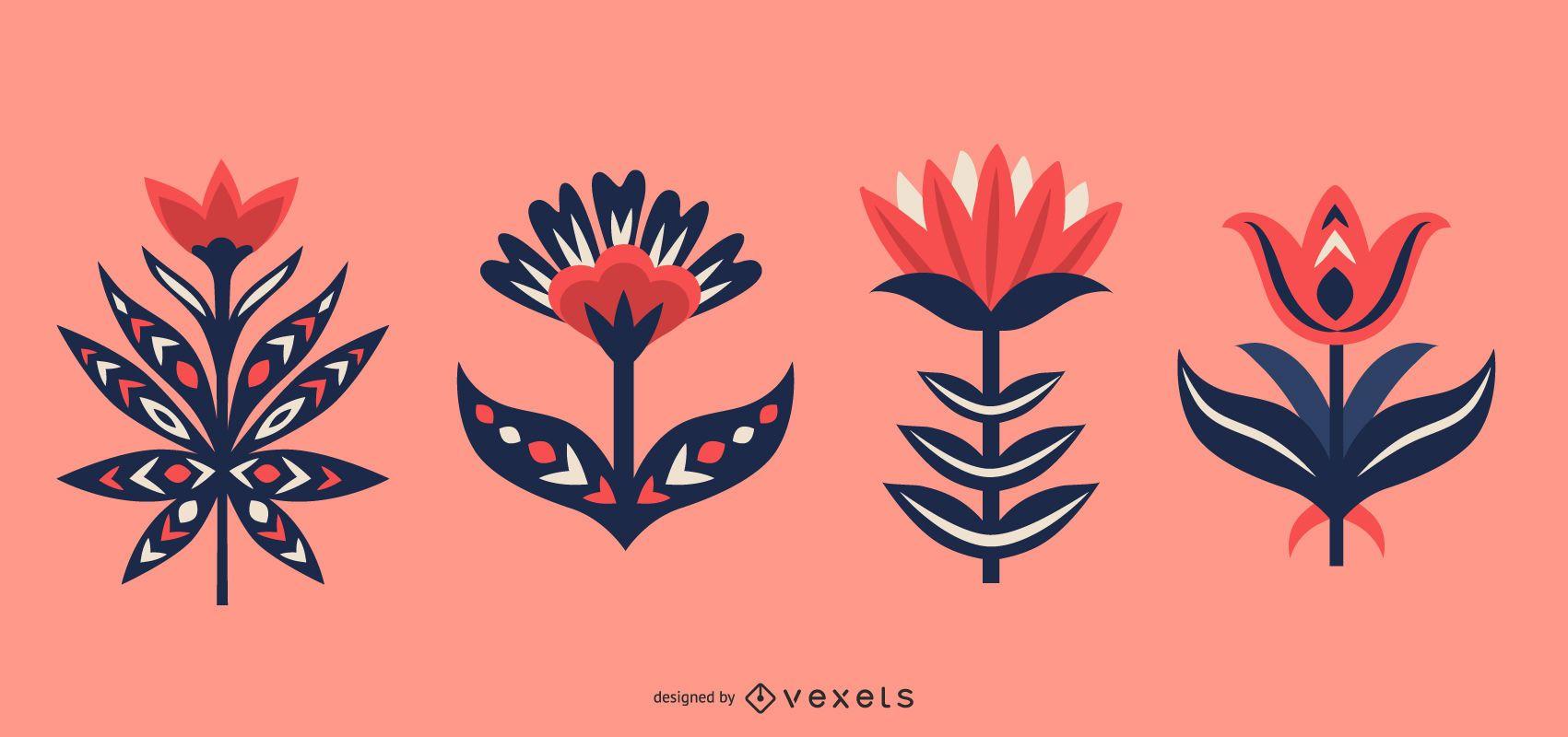 Conjunto de flores de arte popular escandinavo.
