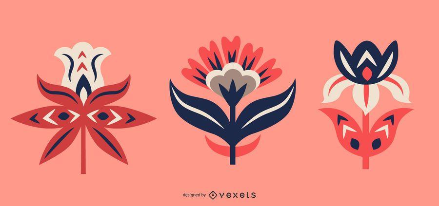 Conjunto de flores de arte popular