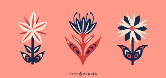 Scandinavian flowers vector set