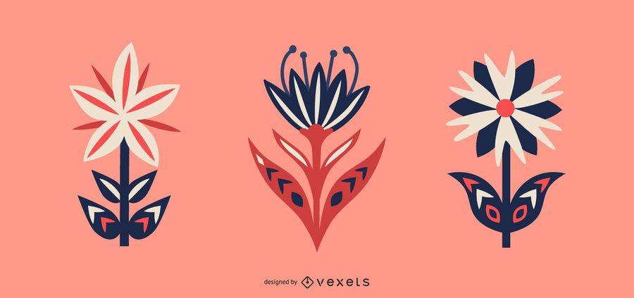 Scandinavian flowers vector set