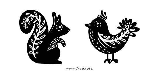 Silhuetas de animais com design popular escandinavo
