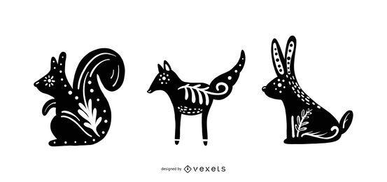 Conjunto de silhuetas de animais folclóricos escandinavos