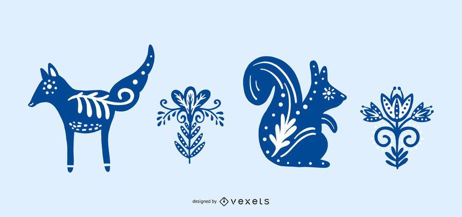 Conjunto de silueta de elemento de naturaleza folclórica escandinava