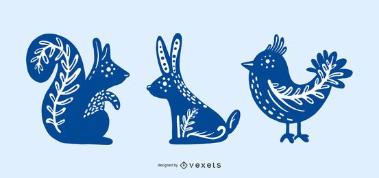 Silhuetas de animais de design escandinavo