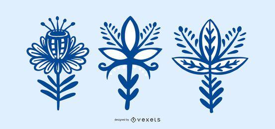 Coleção de flores estilo escandinavo folk