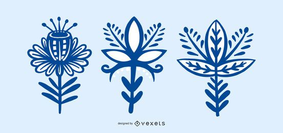 Scandinavian Folk Style Flower Collection