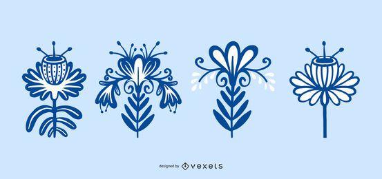 Coleção escandinava de flores folclóricas
