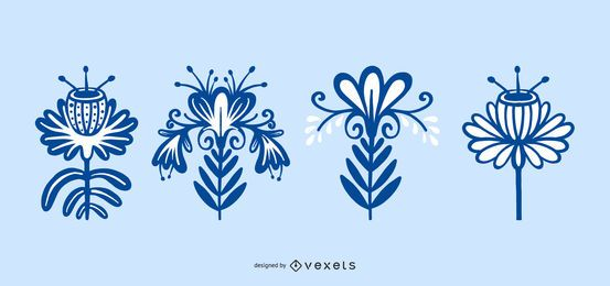 Colección escandinava de flores folclóricas
