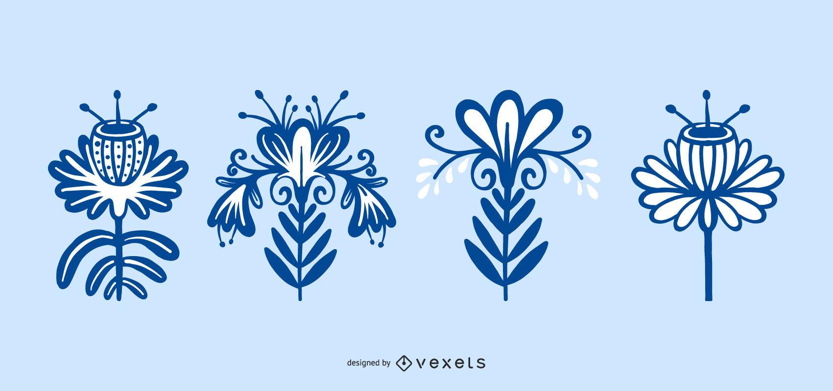 Scandinavian Folk Flower Collection