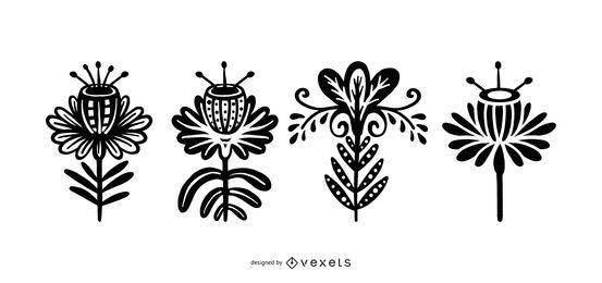 Skandinavische Art-Blumen-Schattenbild-Satz