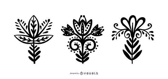 Colección de silueta de flores de estilo escandinavo