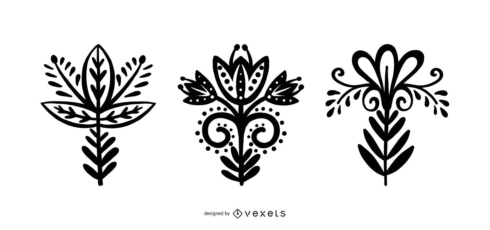 Scandinavian Style Flower Silhouette Collection
