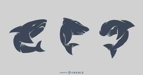 Conjunto de vector de tatuaje de tiburón