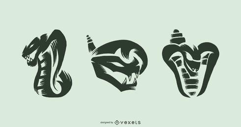 Conjunto de vector de tatuaje de serpiente