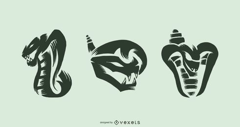 Snake tattoo vector set