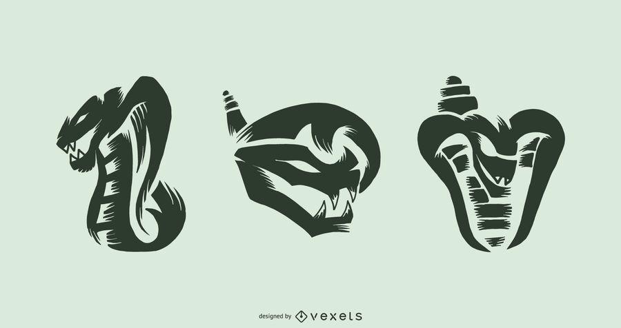 Snake tattoo vector set