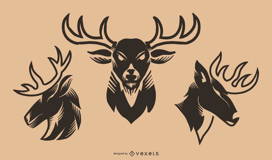 Deer tattoo vector set