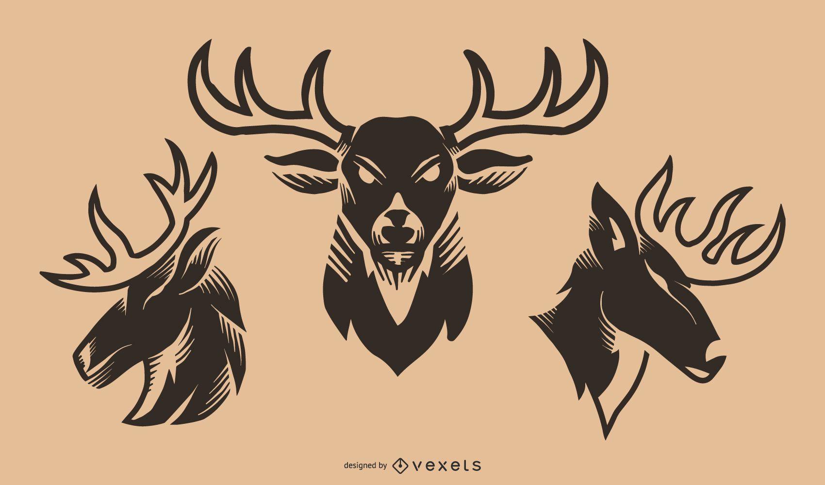 Conjunto de vector de tatuaje de ciervo