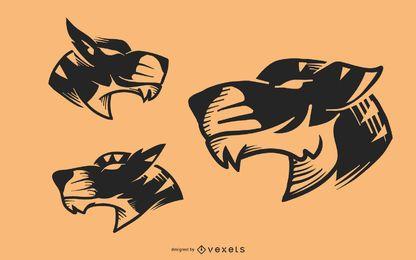 Conjunto de vector de tatuaje de cabeza de tigre