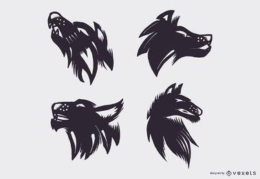 Conjunto de vetores de tatuagem de lobo