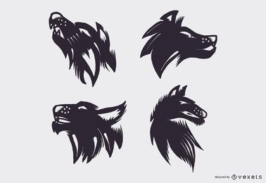 Wolf tattoo vector set