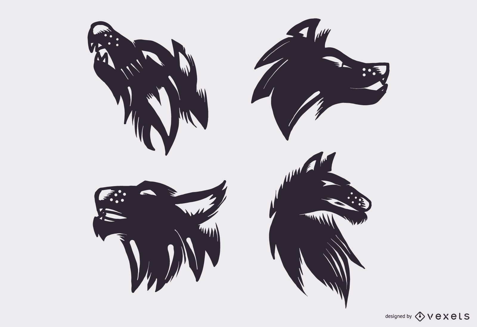 Conjunto de vector de tatuaje de lobo