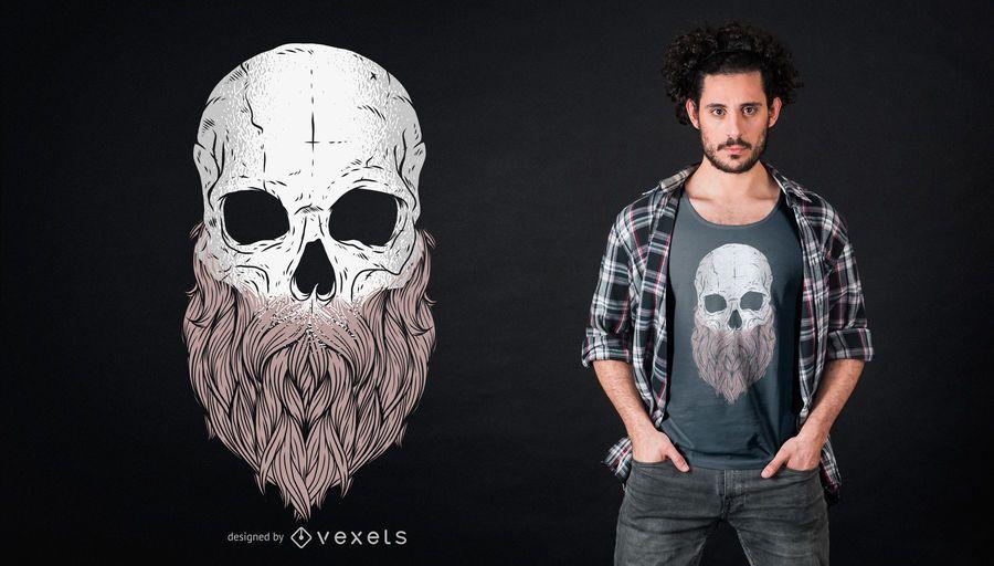 Diseño de camiseta de cráneo barbudo
