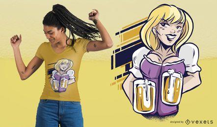 Diseño de la camiseta de la muchacha de las tazas de cerveza
