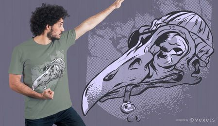 Diseño de camiseta de calavera de gaviota pirata