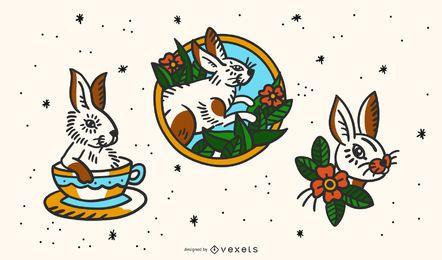 Conjunto de tatuagem vintage de coelho