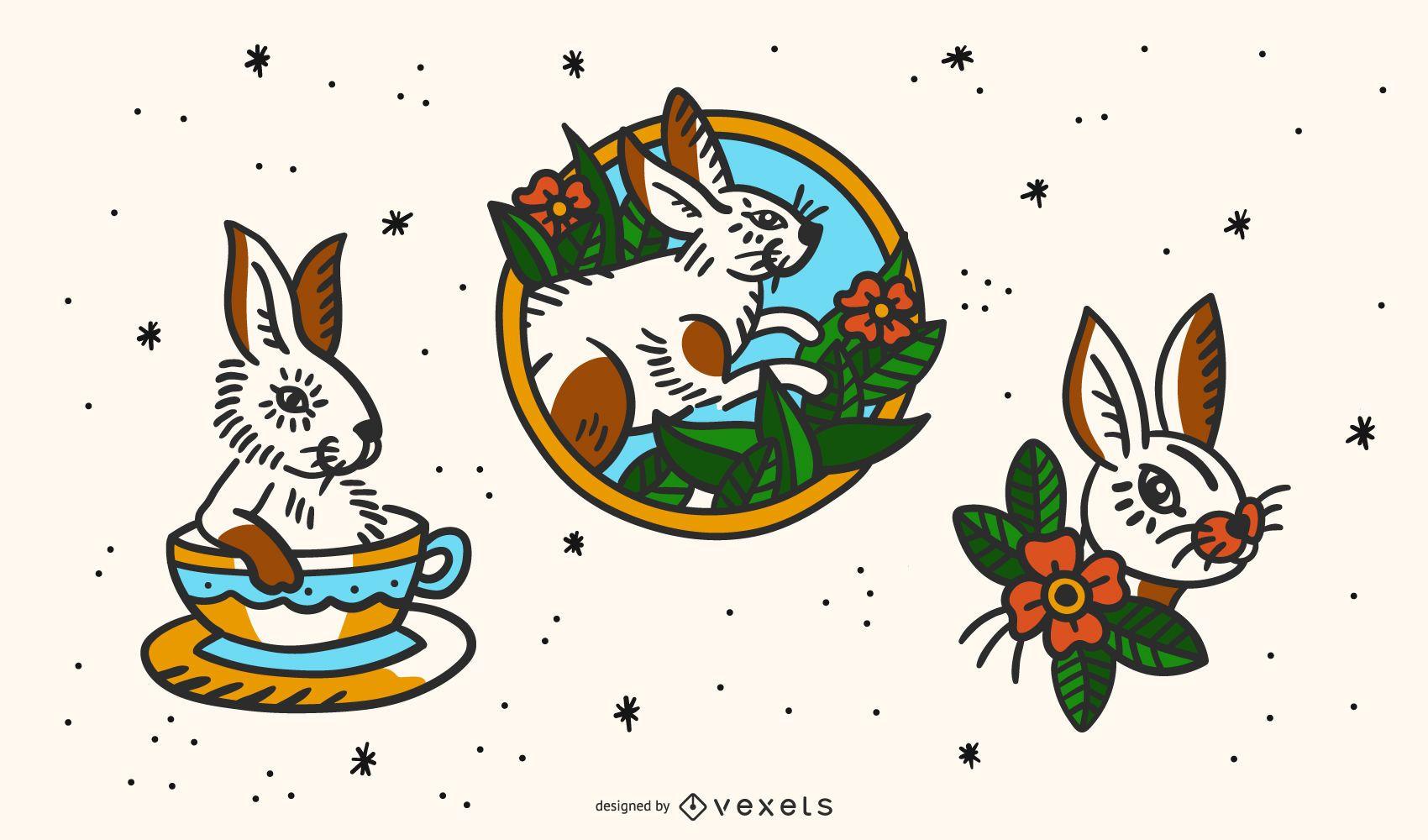 Conjunto de tatuajes vintage de conejo