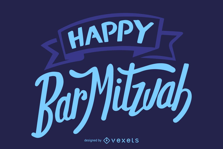 Happy Bar mitzvah lettering
