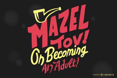 Mazel Tov Bar Mizwa Schriftzug Design