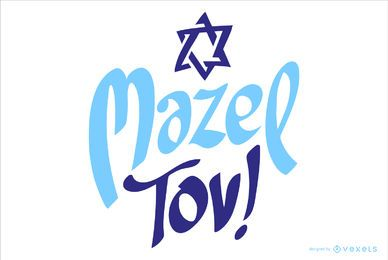 Mazel tov celebration lettering design