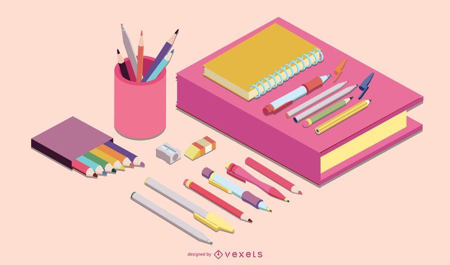 Diseño isométrico de vectores de útiles escolares