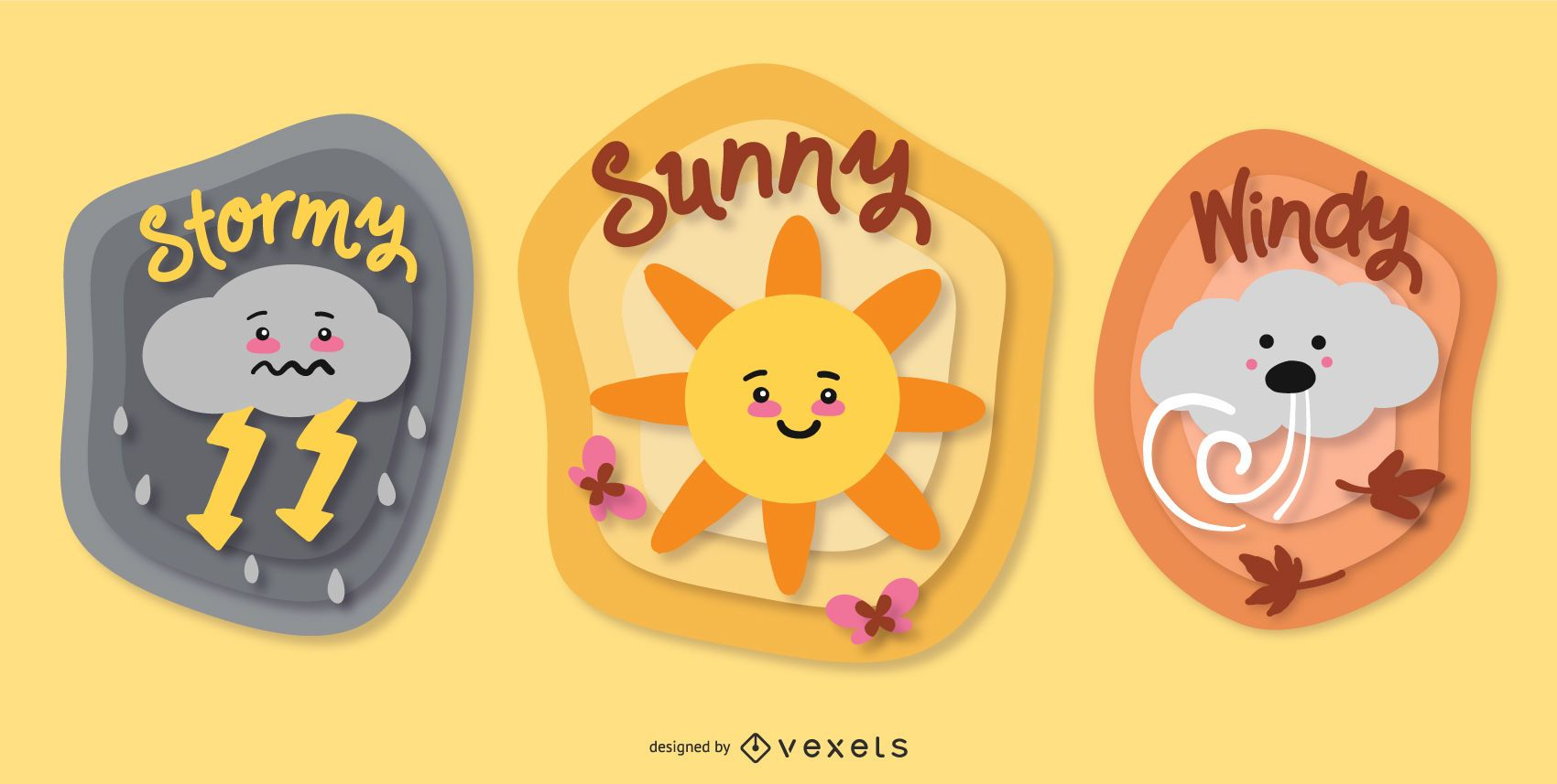 Cute Weather Badge Design Collection