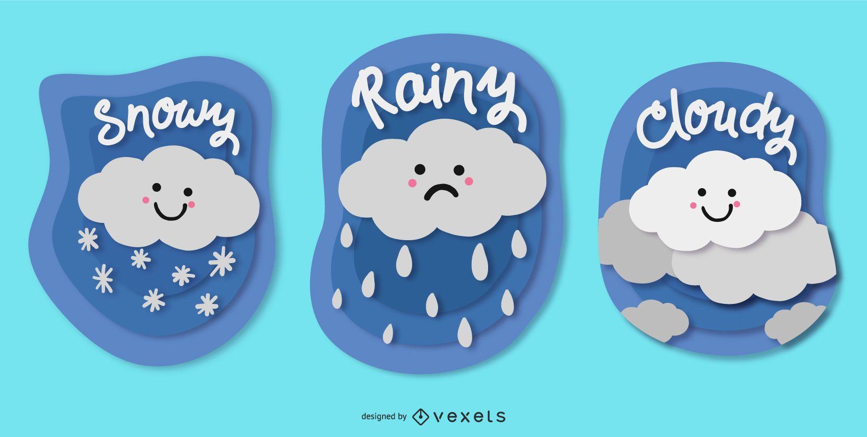 Lindo paquete de insignias meteorológicas