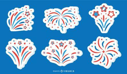 Coleção de vetores de etiqueta patriótica de fogo de artifício