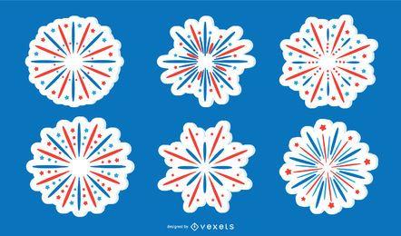 Coleção patriótica da etiqueta do fogo de artifício