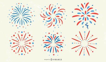 Conjunto de adesivos patrióticos de fogo de artifício