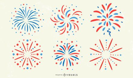 Patriotic Firework Sticker Set