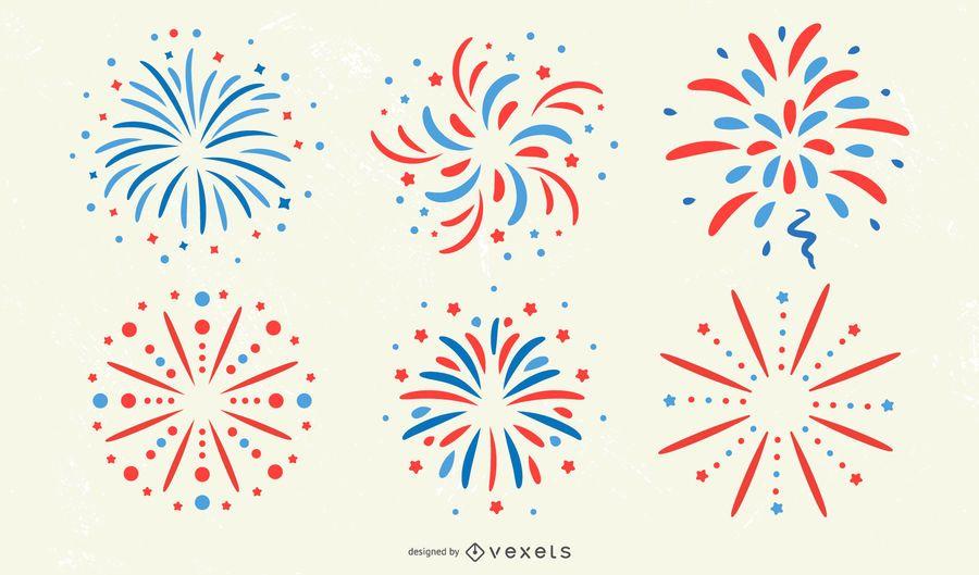 Patriotisches Feuerwerk-Aufkleber-Set