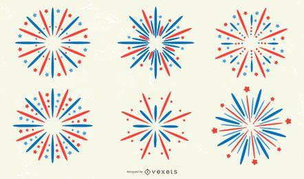 Coleção de Design de etiqueta de fogo de artifício