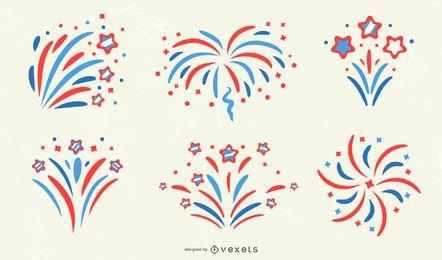 Colección de diseño patriótico de fuegos artificiales