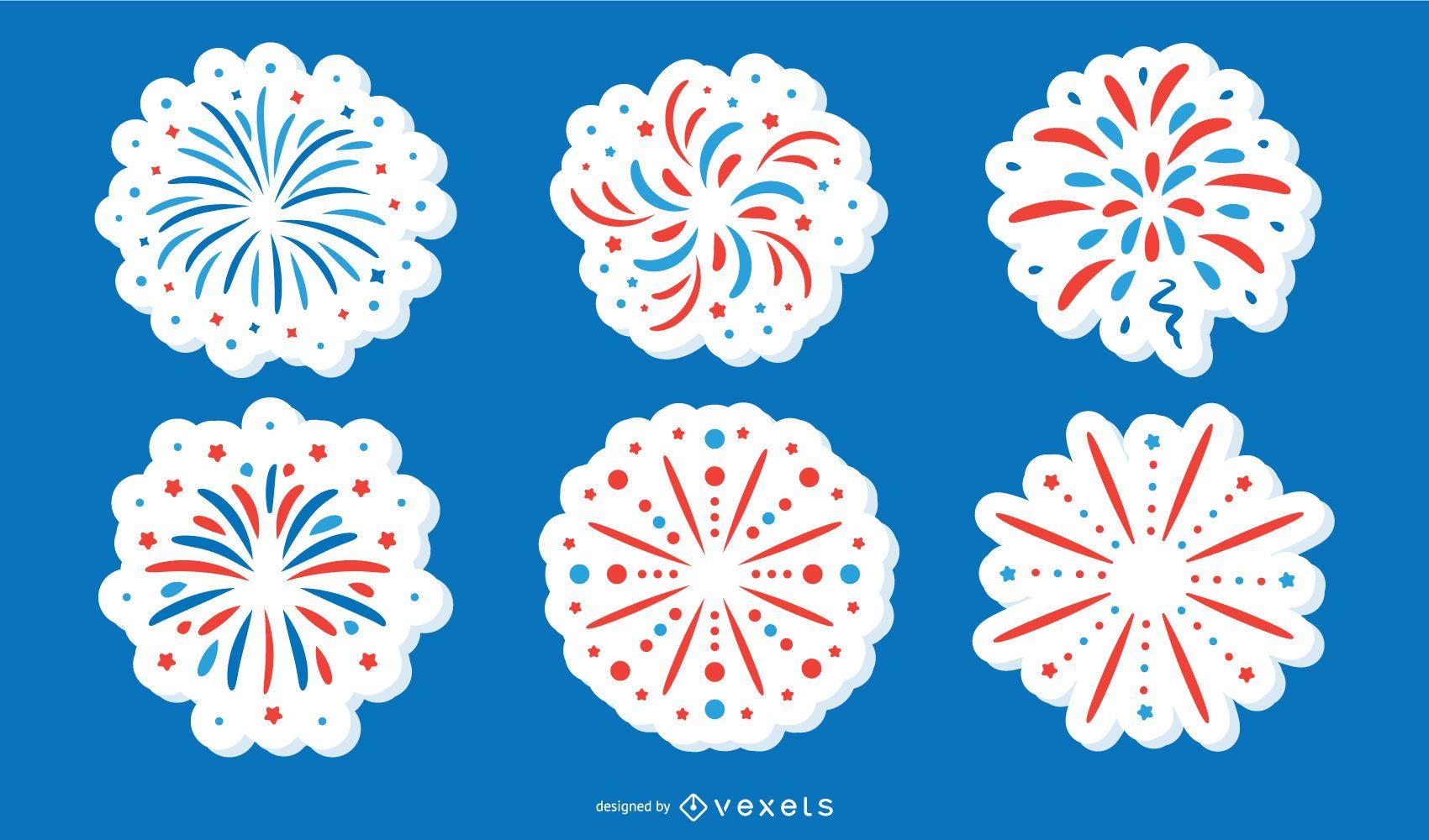 Amerikanische Feuerwerks Feier Aufkleber Sammlung Vektor