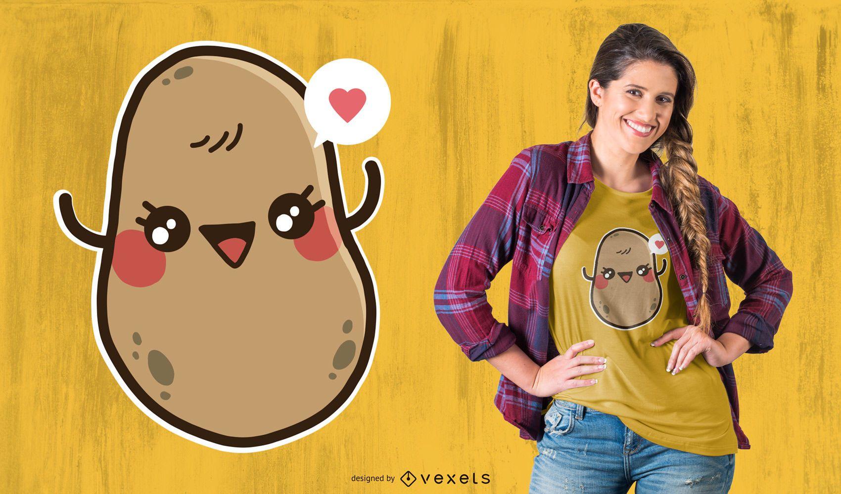 Diseño de camiseta de patata kawaii