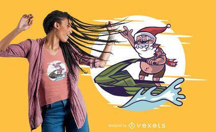 Design de camiseta do Papai Noel em jet ski