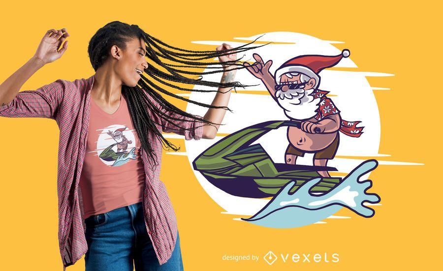 Projeto do t-shirt de Santa do esqui do jato