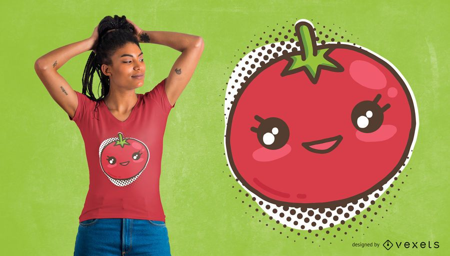 Design de t-shirt de tomate kawaii